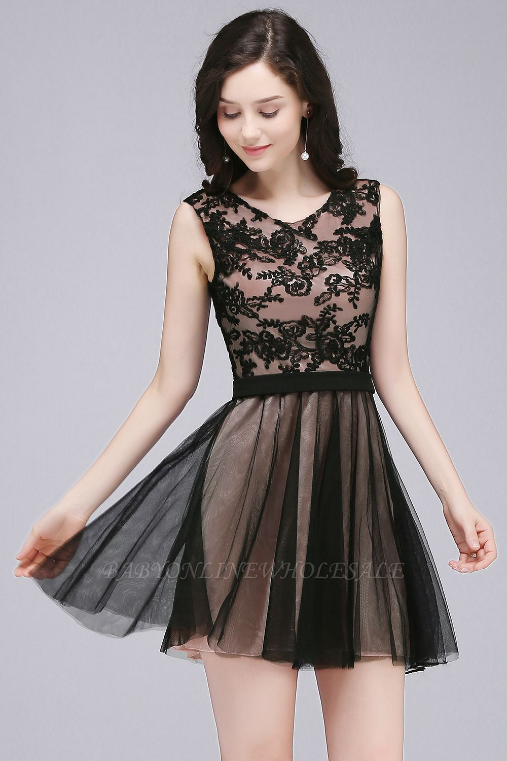 ELEANOR | A-line Crew Short Sleeveless Tulle Lace Appliques Prom Dresses
