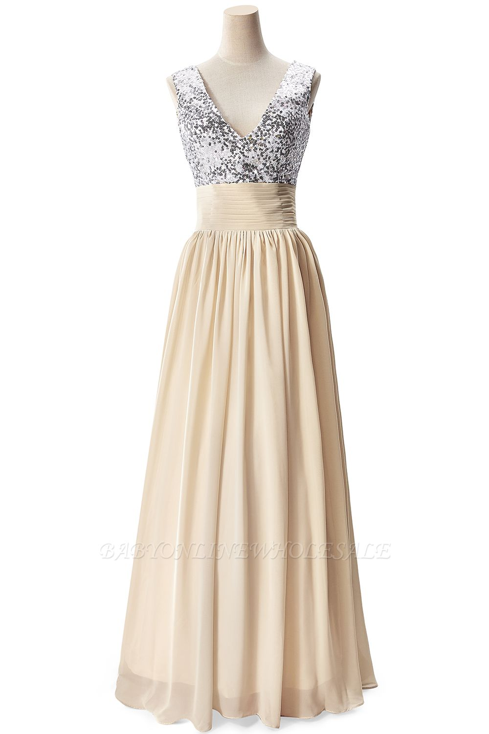 AISLINN | A-line V-neck Chiffon Party Dress With  Sequined