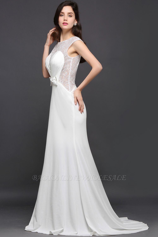 AYLEEN | Mermaid Scoop White Chiffon Evening Dress With Beadings