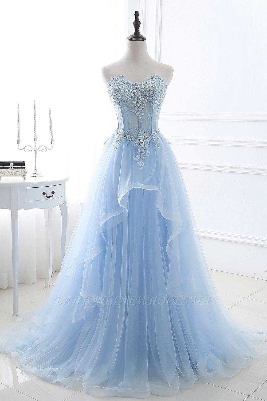 CHARLIZE | Vestido de fiesta Sweetheart Tulle Sky Blue Vestido de fiesta barato con lentejuelas