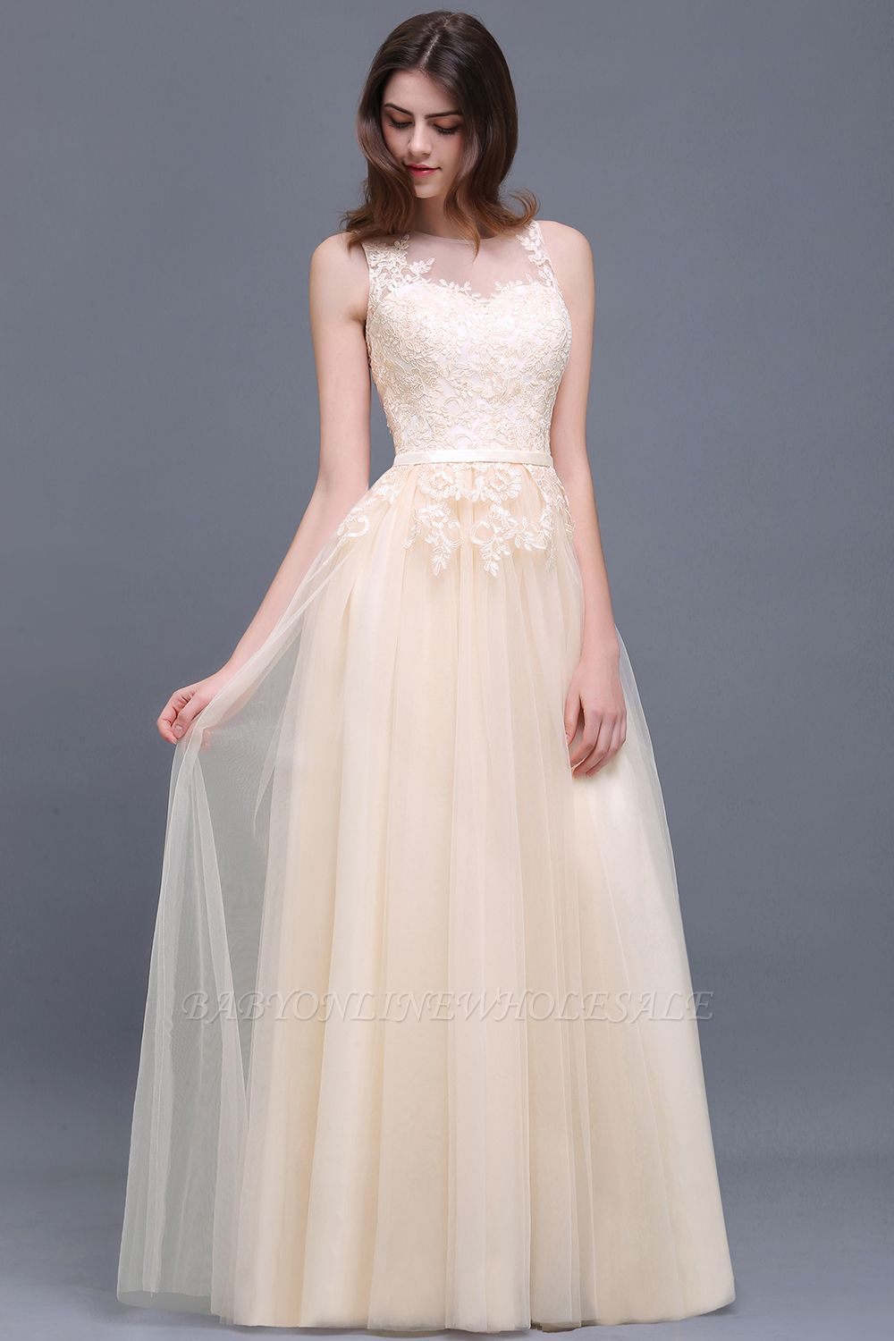 ATHENA | A-line Floor-Length Tulle Prom Dress With Lace