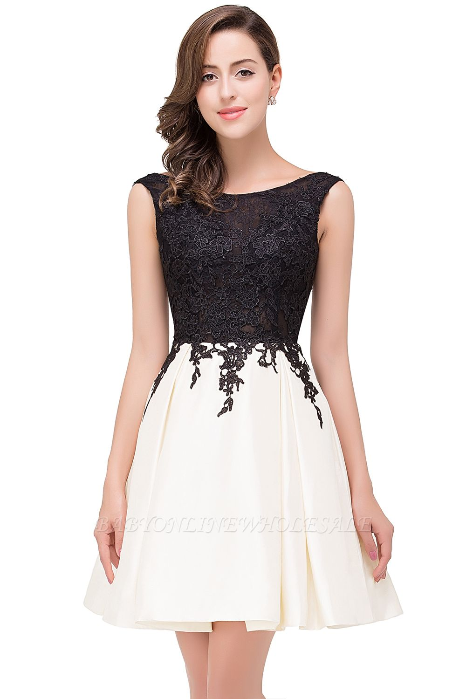 EVA | A-line Sleeveless Lace Appliques Short Prom Dresses