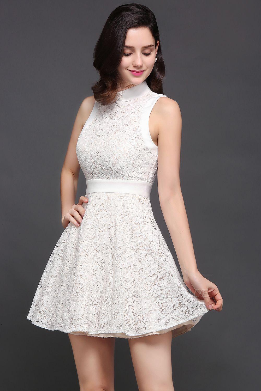 CHLOE | Princesse col haut au genou blanc mignon robe de retour