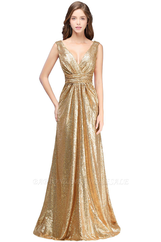 ELSA   A-line Sleeveless Floor-length V-neck Sequins Prom Dresses