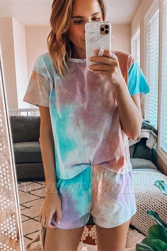 Pijama de manga corta con efecto tie-dye Ropa de casa de dos piezas estampada de verano en línea