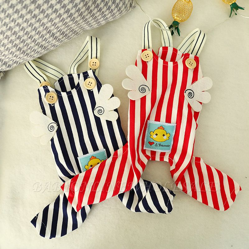 Stripe Straps Dog Jump Suite With Long Pants   Puppy Cloth