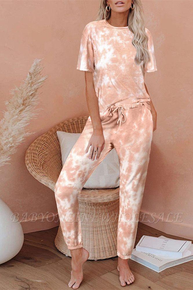 Tie-Dye Kurzarm Pyjama Online-Druck Freizeit Damen Home Wear Online