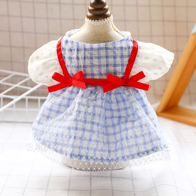 Short Sleeve Grid Pets Cloth With Bow