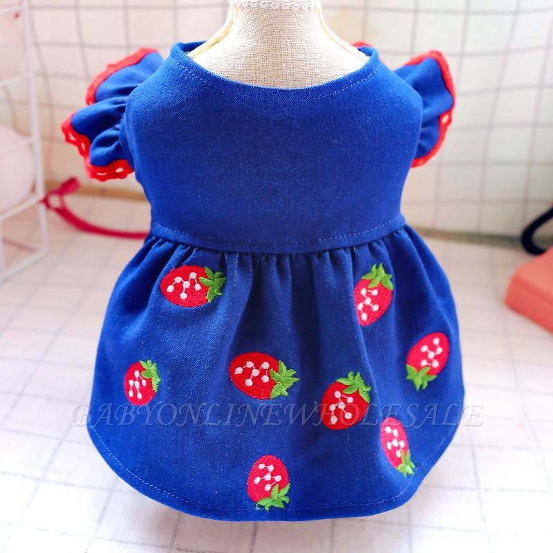 Blue Short Sleeve Small Pet Skirts | Dog Apparel With Pattern