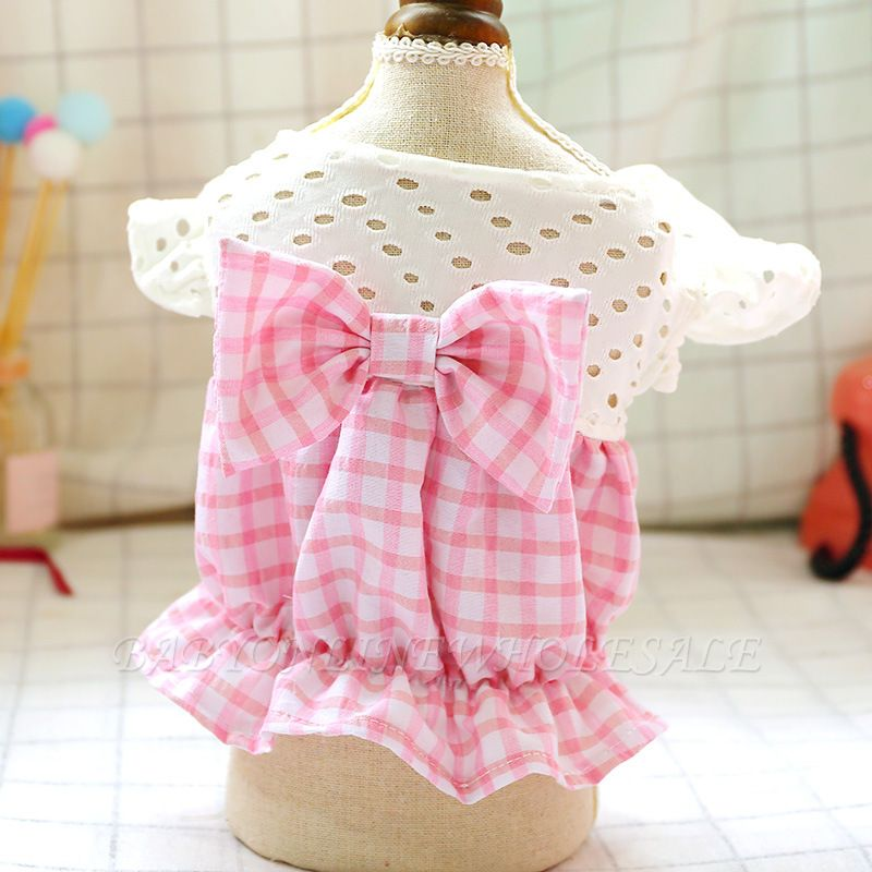 Pink Short Sleeve Grid Dog Cloth With Bow For Small Pets
