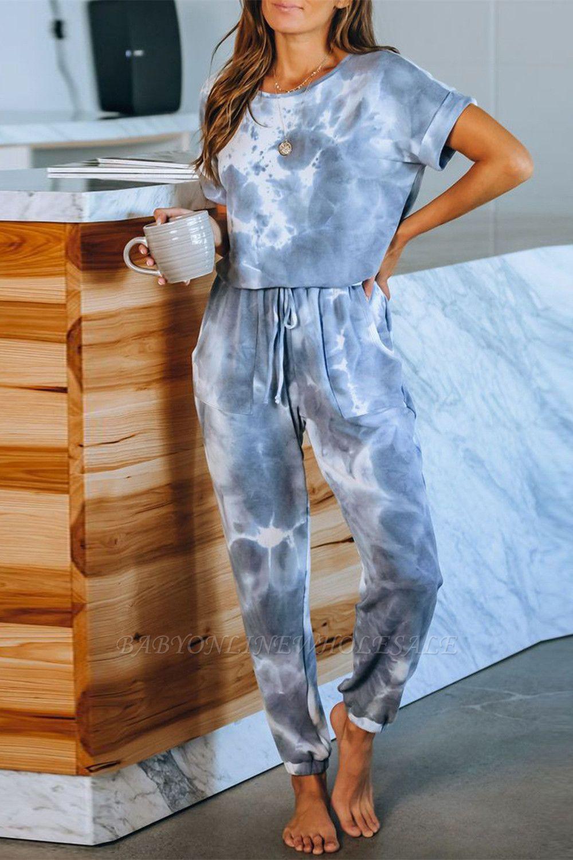 Élégant à manches courtes d'été col rond Homewear en ligne