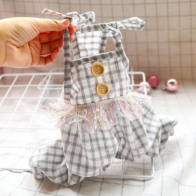 Lovely Straps Grid Dog jumpsuit | Puppy Apparel