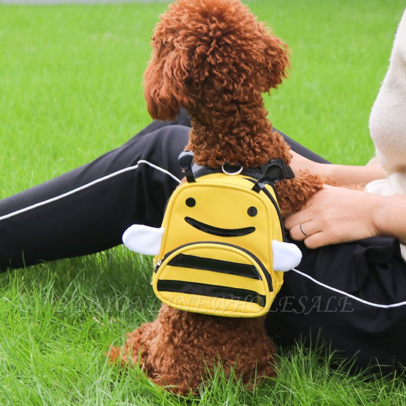 Lovely Bee-Shaped Pet Backpack Day Packs Saddlebags for Small Pets Cartoon Puppy?Bag Pack