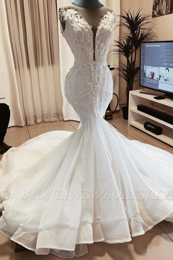 Sleeveless Beads Appliques Mermaid Wedding Dresses | Sheer Tulle V-neck Tulle Bridal Gowns