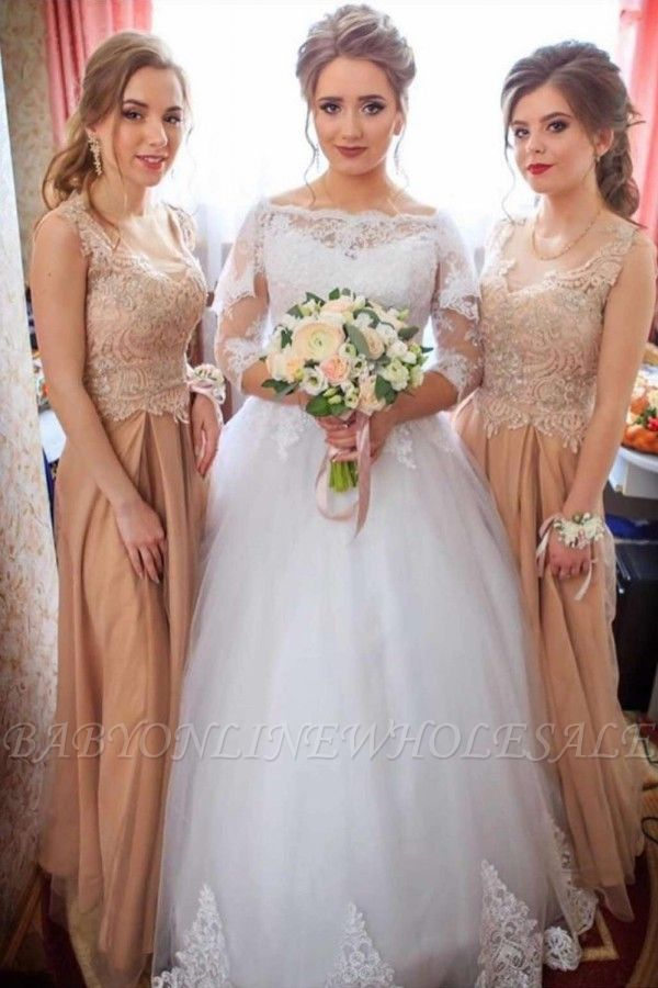 Lace Appliques Long Sleeve Wedding Dresses | Tulle Floor Length Bridal Gowns