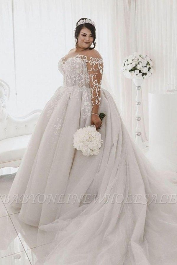 Sheer Tulle Appliques Ball Gown Wedding Dresses   Plus Size Long Sleeve Bridal Gowns