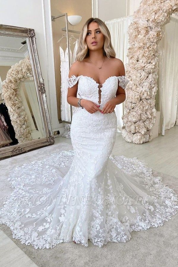 Off The Shoulder Mermaid Appliques Wedding Dresses | Lace Backless Bridal Gowns