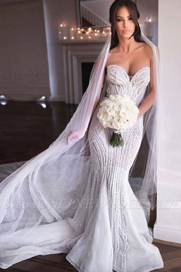 Querida sem alças Missangas Vestidos de noiva sereia | Apliques de Tule Vestidos de Noiva