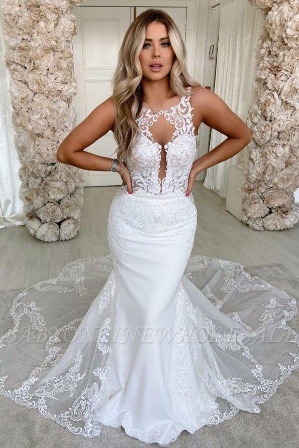 Lace Straps Mermaid Wedding Dresses | Bandage Appliques Cheap Bridal Gowns