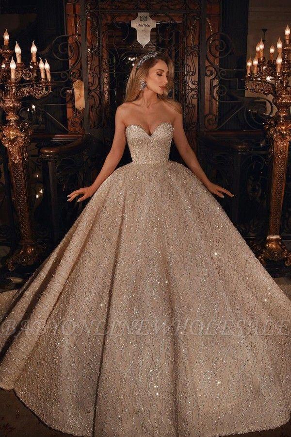 Роскошное пышное бальное платье с блестками и бусинами в форме сердца, свадебное платье