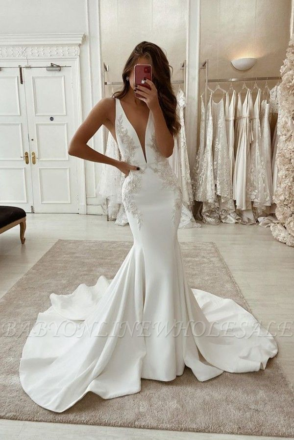 Correias apliques vestidos de noiva com decote em v | Sereia Sem encosto Barato Vestidos de noiva
