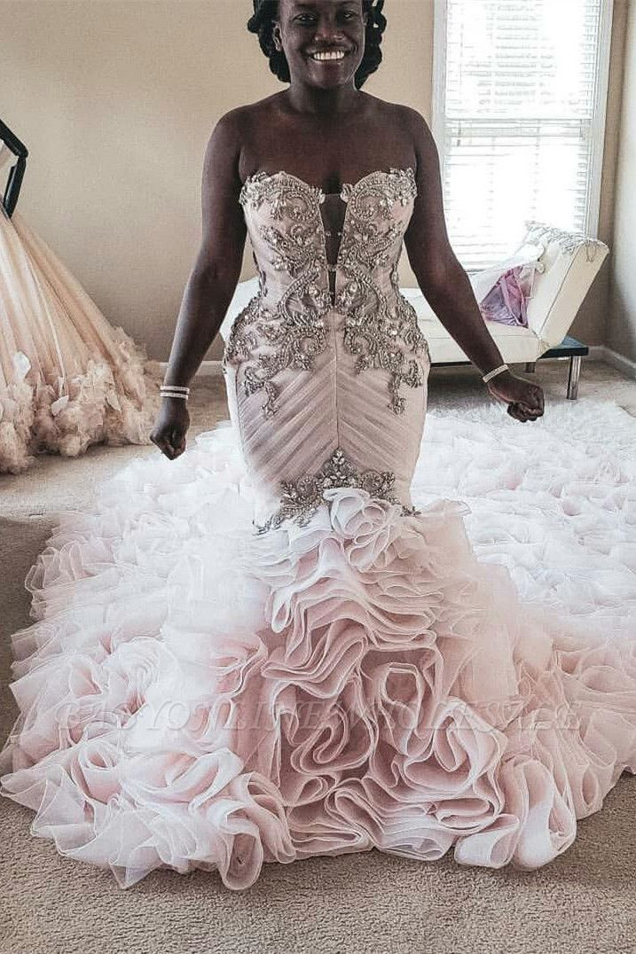 Plus Size Mermaid Crystal Lace Beads Sweetheart Long Train African Custom Made Ruffles Wedding Dresses