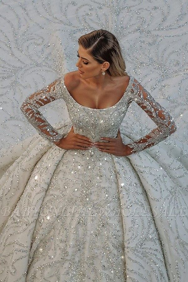 Square neck Lace Ball Gown Long sleeves Wedding Dresses