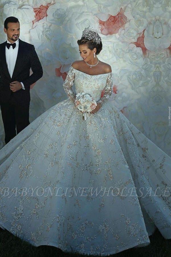 Luxus Shiny Crystal Appliques Ballkleid Brautkleider | Off The Shoulder Langarm-Brautkleider