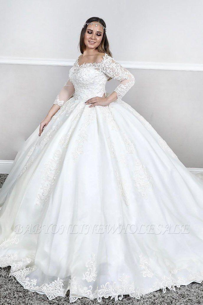 Lange Ärmel Spitze Quadratischer Hals geschwollen Ballkleid Gerichtszug Weiß Brautkleider