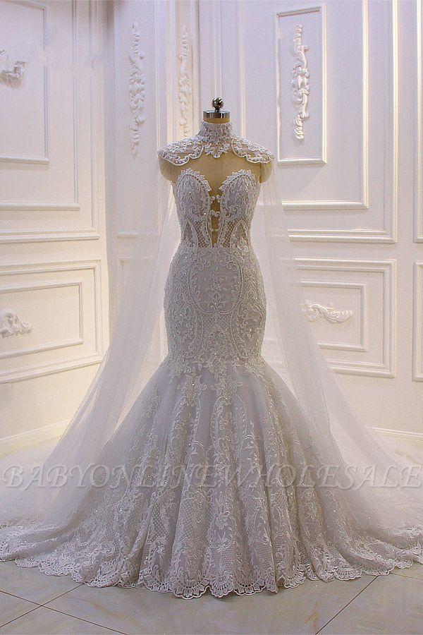 Vestido de novia de sirena de tul de cuello alto con apliques de encaje 3D de lujo