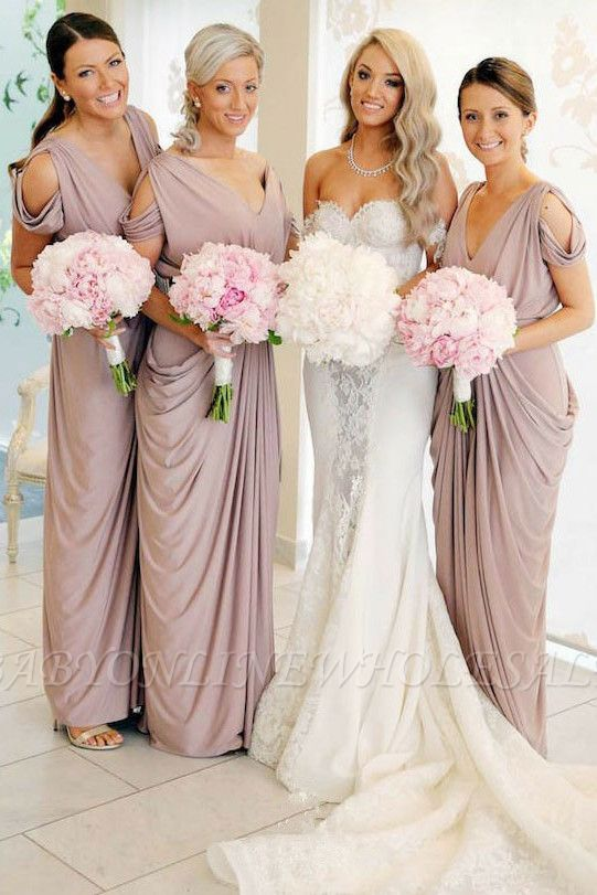 Simple V-Neck Sheath Bridesmaid Dresses   Floor Length Ruffles Evening Dress
