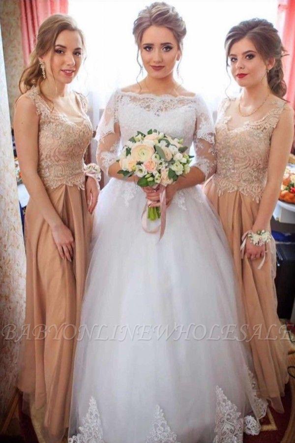 Spitzenapplikationen Langarm Brautkleider   Tüll bodenlange Brautkleider