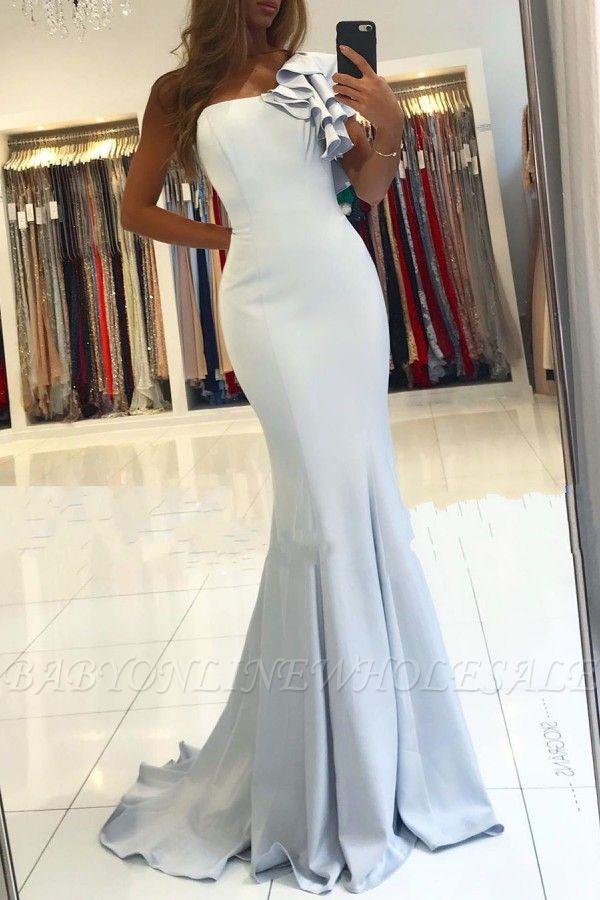 One shoulder ruffles Light Blue Mermaid Long Evening Dress