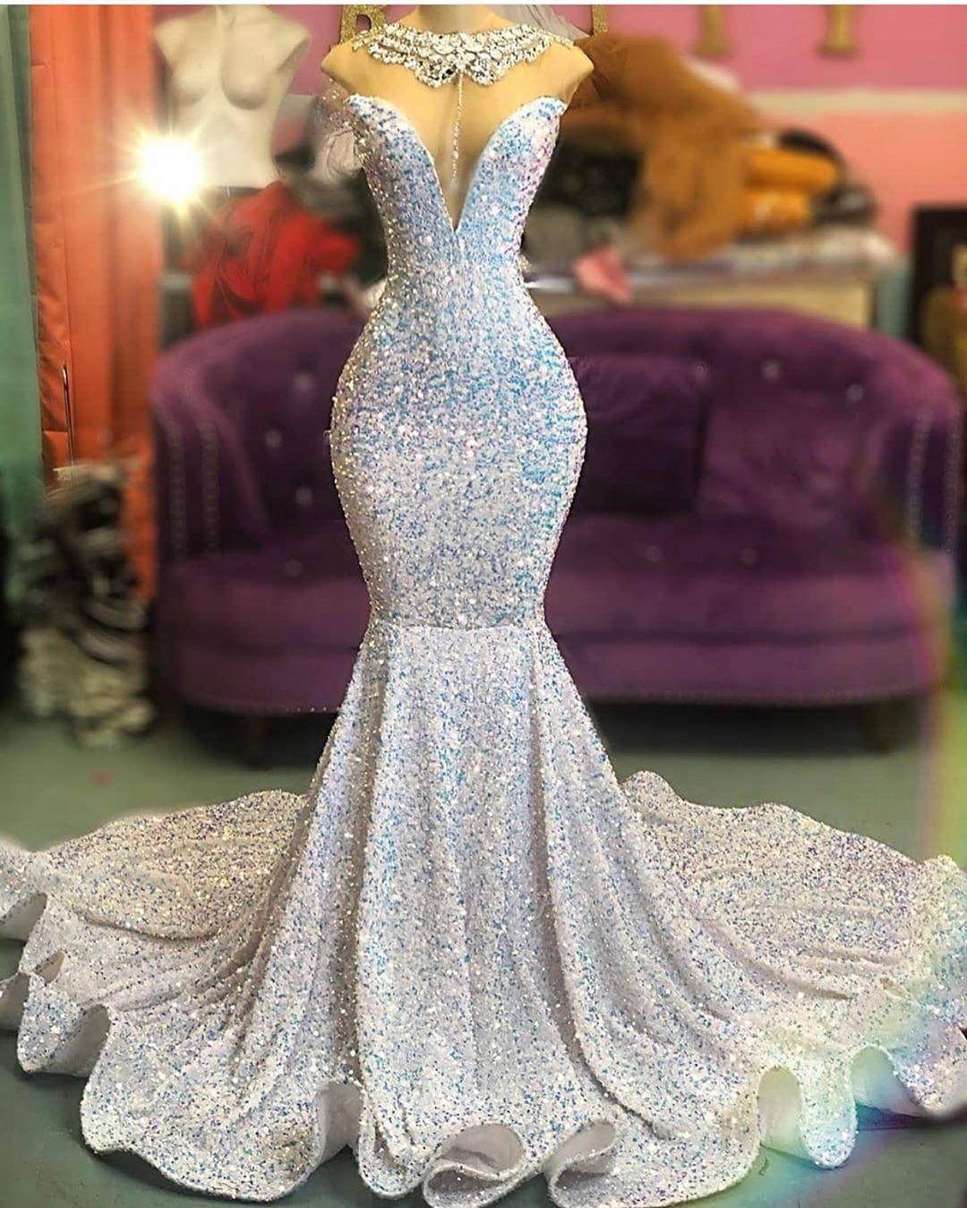 Moda Querida Sereia Brilho Lantejoulas Vestidos de noite