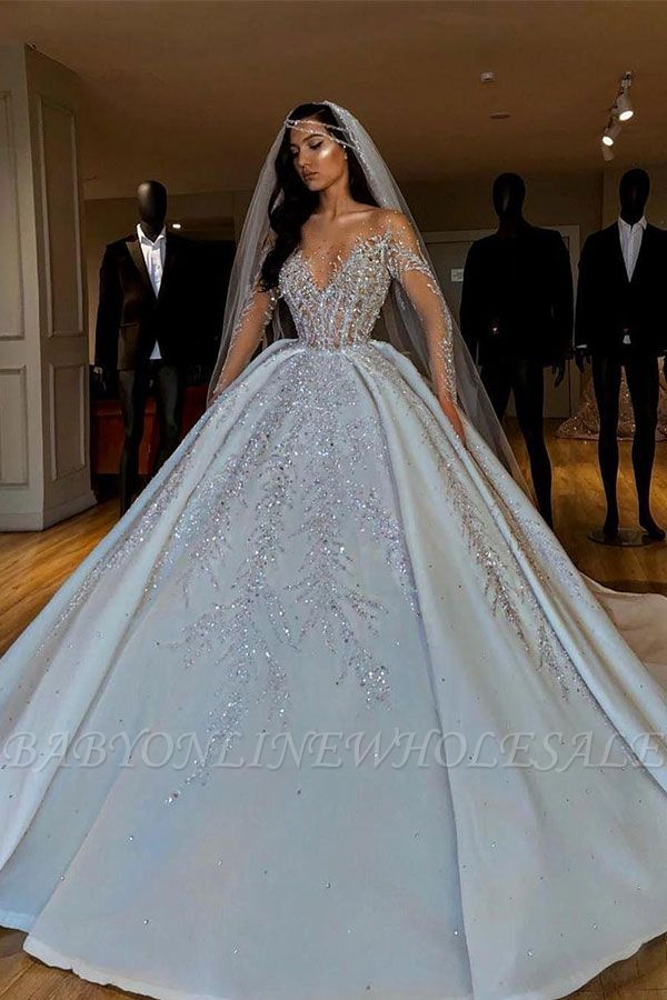 Sparkle Diamond Long sleeves Luxury Ball gown Wedding Dresses