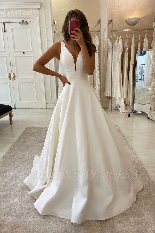 Элегантные V-образным вырезом без рукавов белые A-Line свадебные платья