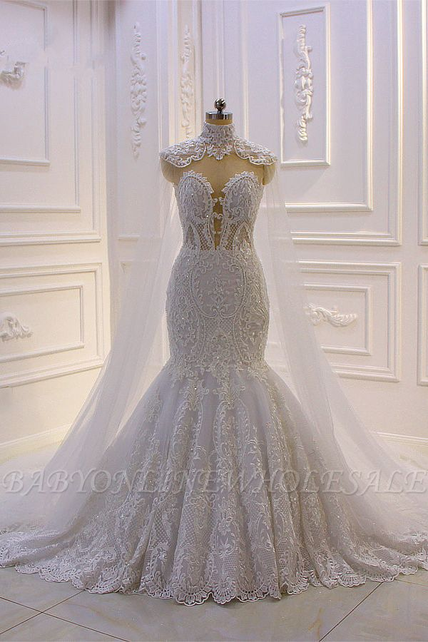 Luxury 3D Lace Applique High Neck Tulle Mermaid Wedding Dress