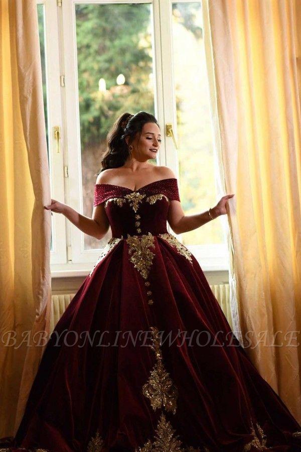 Off-the-shoulder Dark Burgundy Golden appliques Ball Gown Evening Dress