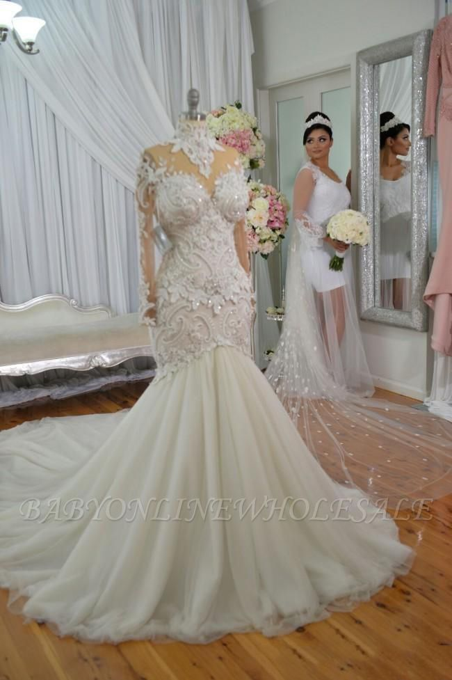 High Neck Beads Appliques Mermaid Wedding Dresses | Sheer Tulle Long Sleeve Bridal Gowns