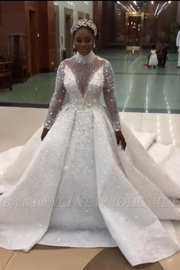 Wunderschöne funkelnde Kristallperlen Ballkleid Brautkleider | High Neck Langarm Brautkleider