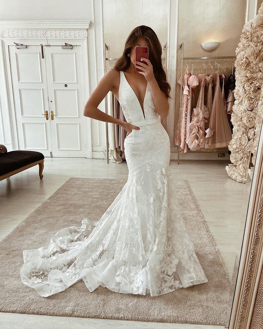 Уникальные без рукавов глубокие V-образным вырезом кружевные длинные свадебные платья