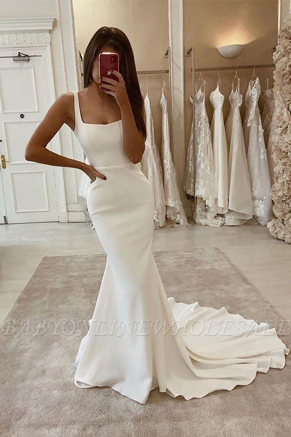 Sexy Spaghetti Strap Satin blanc longues robes de mariée