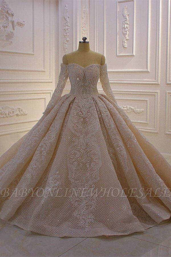 Long Sleeves Ball Gown Off-the-shoulder Sequins Wedding Dress