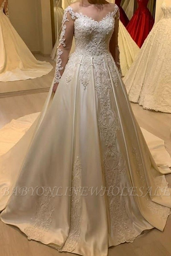 Elegant Off Shoulder Long Sleeves White Lace Satin Bridal Dress with Sweep Train