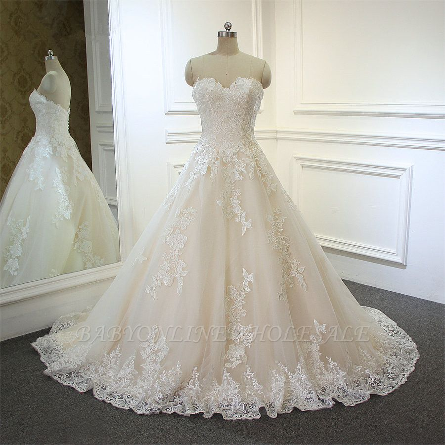 Sweeheart Sleeveless A-line Tulle Lace Appliques Bridal Gowns Floor Length Garden Wedding Dress