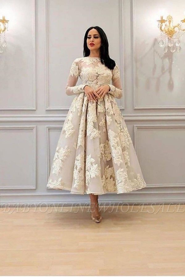 Charming Long Sleeves Floral A-line Evening Dress Ankle Length Party Dress