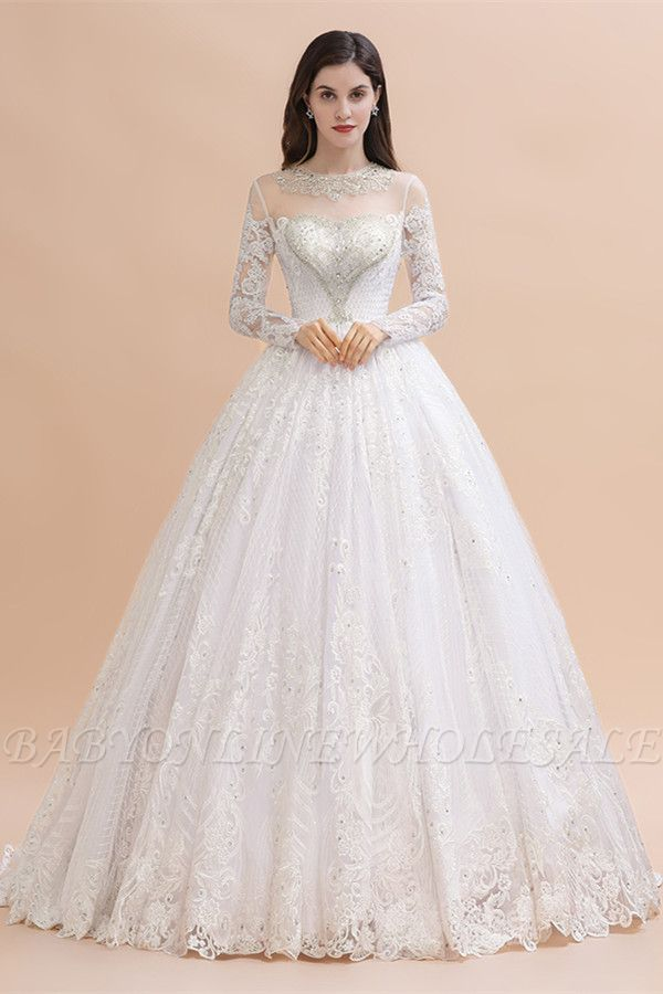 Glamorous Long Sleeve Beads White/Ivory Lace Appliques Wedding Dress