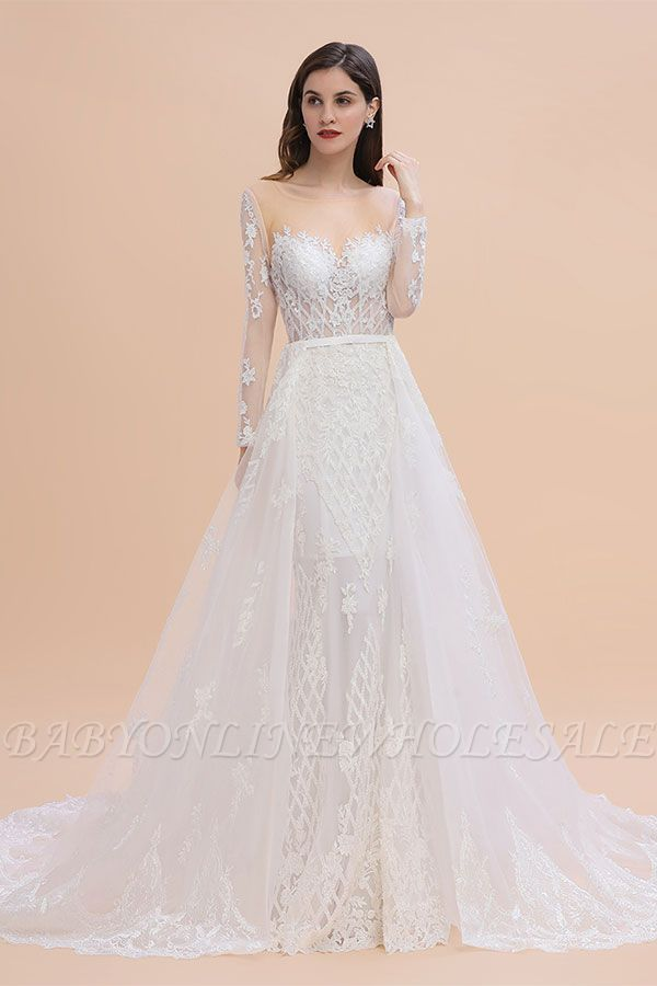 Luxury Beaded Lace Mermaid Wedding Dresses Tulle Appliques Bride Dresses with Detachable Train