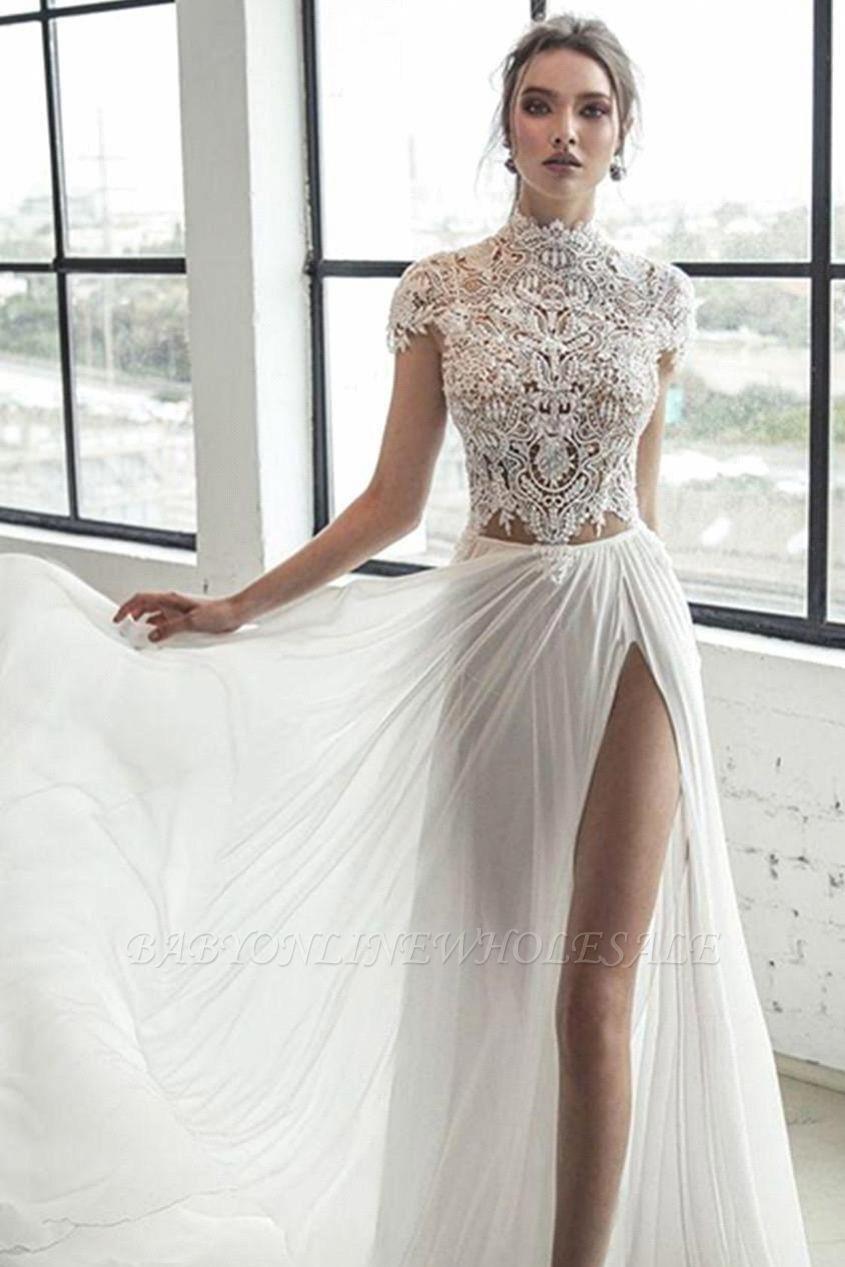 Col haut Manches courtes Robe de mariée en mousseline ivoire fendue | Robe de mariée longue élégante