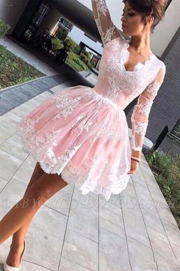 Long sleeves Lace Pink Back to school V-neck Puffy Homecoming Dress